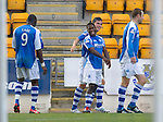 St Johnstone v St Mirren....06.10.12      SPL.Nigel Hasselbaink celebrates his goal with Gregory Tade, Gary Miller and Dave Mackay.Picture by Graeme Hart..Copyright Perthshire Picture Agency.Tel: 01738 623350  Mobile: 07990 594431