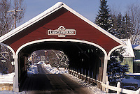 covered bridge, NH, New Hampshire, Lancaster, Red covered bridge in the winter