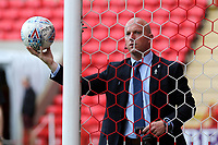 Match referee, Simon Hooper, tests the goal line technology ahead of kick-off during Charlton Athletic vs Shrewsbury Town, Sky Bet EFL League 1 Play-Off Football at The Valley on 10th May 2018