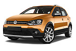 Stock pictures of low aggressive front three quarter view of a 2015 Volkswagen Polo Cross 5 Door Hatchback 2WD Low Aggressive