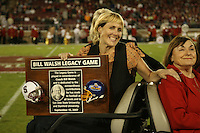 15 September 2007: Elizabeth, the daughter of Bill Walsh during the Bill Walsh Legacy Game trophy presentation during Stanford's 37-0 win over San Jose State at Stanford Stadium in Stanford, CA.