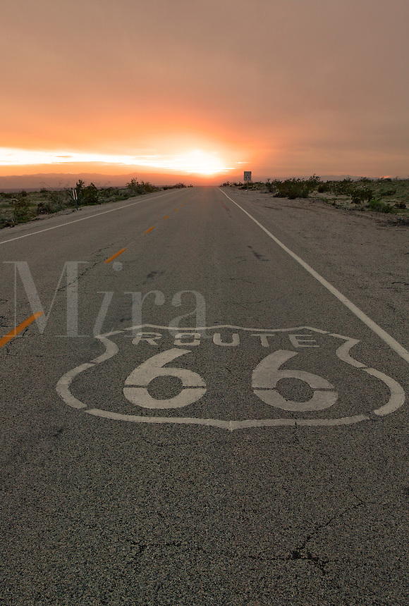 Sunset on Route 66, near Amboy, California.