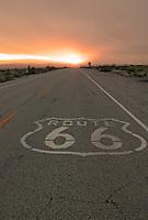 Sunset on Route 66, near Amboy, California.
