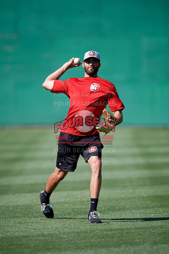Chattanooga Lookouts pitcher Randy LeBlanc (38) warms up before a game against the Jackson Generals on April 27, 2017 at The Ballpark at Jackson in Jackson, Tennessee.  Chattanooga defeated Jackson 5-4.  (Mike Janes/Four Seam Images)