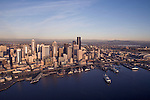 Seattle, skyline, Aerial, Mount Rainier, Elliott Bay, Puget Sound, Washington State ferry, Business District, Washington State, Pacific Northwest, North America, sunset,