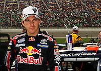 Oct. 3, 2009; Kansas City, KS, USA; NASCAR Nationwide Series driver Scott Speed during the Kansas Lottery 300 at Kansas Speedway. Mandatory Credit: Mark J. Rebilas-