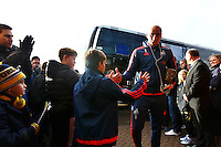 Jonjo Shelvey of Swansea arriving at Oxford ground  before the Emirates FA Cup 3rd Round between Oxford United v Swansea     played at Kassam Stadium  on 10th January 2016 in Oxford