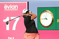 Angela Stanford (USA) tees off the 17th tee during Thursday's Round 1 of The Evian Championship 2018, held at the Evian Resort Golf Club, Evian-les-Bains, France. 13th September 2018.<br /> Picture: Eoin Clarke | Golffile<br /> <br /> <br /> All photos usage must carry mandatory copyright credit (&copy; Golffile | Eoin Clarke)