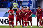 Players of Vietnam celebrates during the AFC Asian Cup UAE 2019 Round of 16 match between Jordan (JOR) and Vietnam (VIE) at Al Maktoum Stadium on 20 January 2019 in Dubai, United Arab Emirates. Photo by Marcio Rodrigo Machado / Power Sport Images