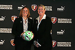 16 January 2009: WPS Commissioner Tonya Antonucci (left) and WPS COO Mary Harvey (right). The 2009 inaugural Womens Pro Soccer (WPS) Draft was held at the Convention Center in St. Louis, Missouri in conjuction with the National Soccer Coaches Association of America's annual convention.