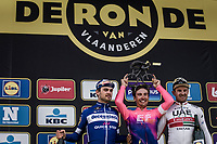 podium <br /> <br /> 1st place Alberto Bettiol (ITA/EF Education First)<br /> 2nd place Kasper Asgreen (DEN/Deceuninck Quick Step)<br /> 3th place finisher Alexander Kristoff (NOR/UAE)<br /> <br /> 103rd Ronde van Vlaanderen 2019<br /> One day race from Antwerp to Oudenaarde (BEL/270km)<br /> <br /> ©kramon