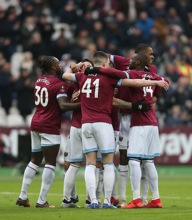 West Ham United celebrate their first goal scored by Marko Arnautovic<br /> <br /> Photographer Rob Newell/CameraSport<br /> <br /> Emirates FA Cup Third Round - West Ham United v Birmingham City - Saturday 5th January 2019 - London Stadium - London<br />  <br /> World Copyright &copy; 2019 CameraSport. All rights reserved. 43 Linden Ave. Countesthorpe. Leicester. England. LE8 5PG - Tel: +44 (0) 116 277 4147 - admin@camerasport.com - www.camerasport.com