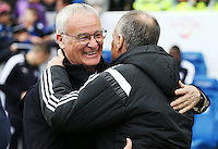 Swansea City Manager Francesco Guidolin  and Leicester City Manager Claudio Ranieri hug before the Barclays Premier League match between Leicester City and Swansea City played at The King Power Stadium, Leicester on April 24th 2016