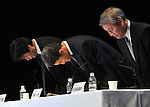 """May 1, 2011, Tokyo, Japan - Sony Computer Entertainment President Kazuo Hirai, center, and two other executives bow in traditional style of apology at the start of a news conference at its head office In Tokyo on Sunday, May 1, 2011. Sony apologized for a security breach in the company PlayStation Network that caused the loss of personal data of some 77 million accounts on the online service. Sony has said it has contacted U.S. Federal Bureau of Investigation to look into what the company called """"a criminal cyber attack"""" on Sony's data center in San Diego, California. Otehr executives are, Sony Corp.'s Senior Vice Presidents Shiro Kambe, left, and Shinji Hasejima. (Photo by Natsuki Sakai/AFLO) [3615] -mis-"""