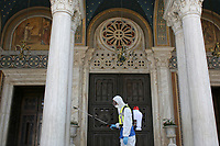 Disinfection of the Greek Orthodox Church Metropolitan Cathedral in an effort to fight the Coronavirus Covid-19 pandemic in Athens, Greece. Monday 30 March 2020