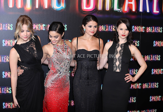 WWW.ACEPIXS.COM....US Sales Only....February 21 2013, Madrid....Ashley Benson, Vanessa Hudgens, Selena Gomez and Rachel Korine at the premiere of 'Spring Breakers' on February 21 2013 in Madrid....By Line: Famous/ACE Pictures......ACE Pictures, Inc...tel: 646 769 0430..Email: info@acepixs.com..www.acepixs.com