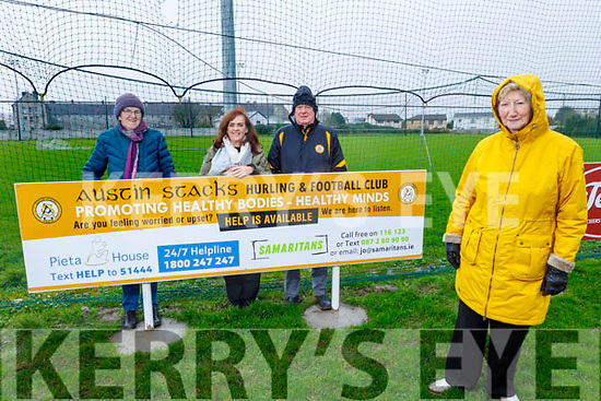 Mairead Fernane, Chairperson of Austin Stacks GAA helps launch the Promoting Healthy Bodies -Healthy Minds awareness programme in the club grounds on Tuesday.<br /> Front: Mairead Fernane, Chairperson of Austin Stacks.<br /> Back l to r: Margaret Moriarty and Jan Rice (Director of Services for Samartians in Kerry) and Jim Naughton.