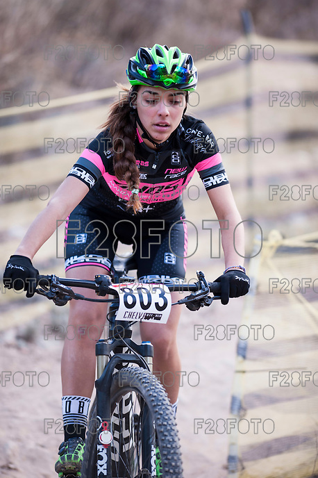 Chelva, SPAIN - MARCH 6: Lucia Aguilar during Spanish Open BTT XCO on March 6, 2016 in Chelva, Spain