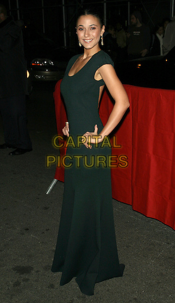"EMMANUELLE CHRIQUI.Attending the New York Premiere of ""Cadillac Records""at AMC Loews 19th St Theater, New York, NY, USA, .December 1st 2008..full length green long maxi dress hands on hips .CAP/LNC/TOM.©LNC/Capital Pictures"