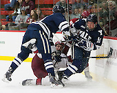 Rob O'Gara (Yale - 4), Devin Tringale (Harvard - 22), Mitch Witek (Yale - 10) - The visiting Yale University Bulldogs defeated the Harvard University Crimson 2-1 (EN) on Saturday, November 15, 2014, at Bright-Landry Hockey Center in Cambridge, Massachusetts.