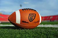 Jun. 13, 2009; Las Vegas, NV, USA; Detail view of the UFL football during the United Football League workout at Sam Boyd Stadium. Mandatory Credit: Mark J. Rebilas-