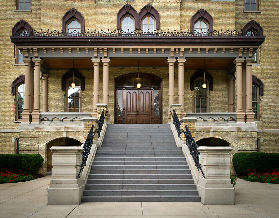 Aug. 7, 2013; Stairs to the main entrance of the Main Building.<br /> <br /> Photo by Matt Cashore/University of Notre Dame