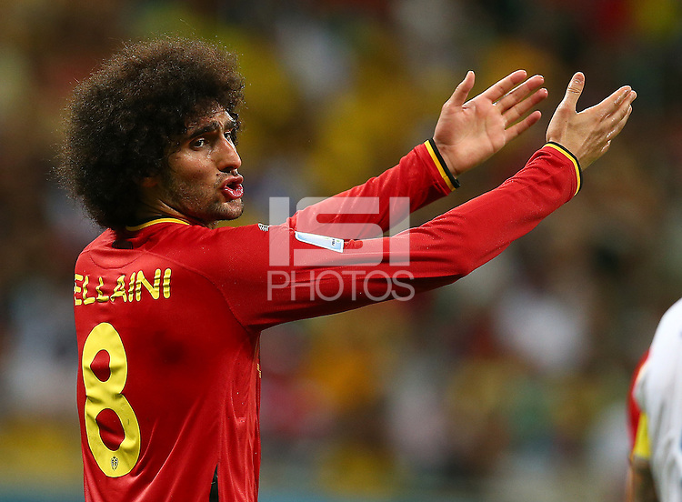 Marouane Fellaini of Belgium gestures in frustration
