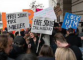 Supporters and detractors of former adviser to United States President Donald J. Trump, Roger Stone, outside the US District Court in Washington, DC where he is being arraigned on an indictment brought by special counsel Robert Mueller on January 29, 2019.  The allegations against the longtime Trump associate say he sought stolen emails from WikiLeaks that could potentially damage Trump's opponents while working in coordination with senior Trump campaign officials.<br /> Credit: Ron Sachs / CNP<br /> (RESTRICTION: NO New York or New Jersey Newspapers or newspapers within a 75 mile radius of New York City)