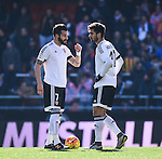 Valencia CF's  Alvaro Negredo and Andre Gomes  during La Liga match. January 17, 2016. (ALTERPHOTOS/Javier Comos)