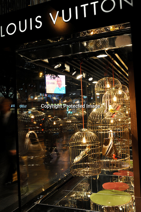 Louis Vuitton shop in Central, Hong Kong. Hong Kong is a leading destination for mainland tourists and is leading centre for luxury fashion brands carry the complete range of one of the world's top fashion brands products...