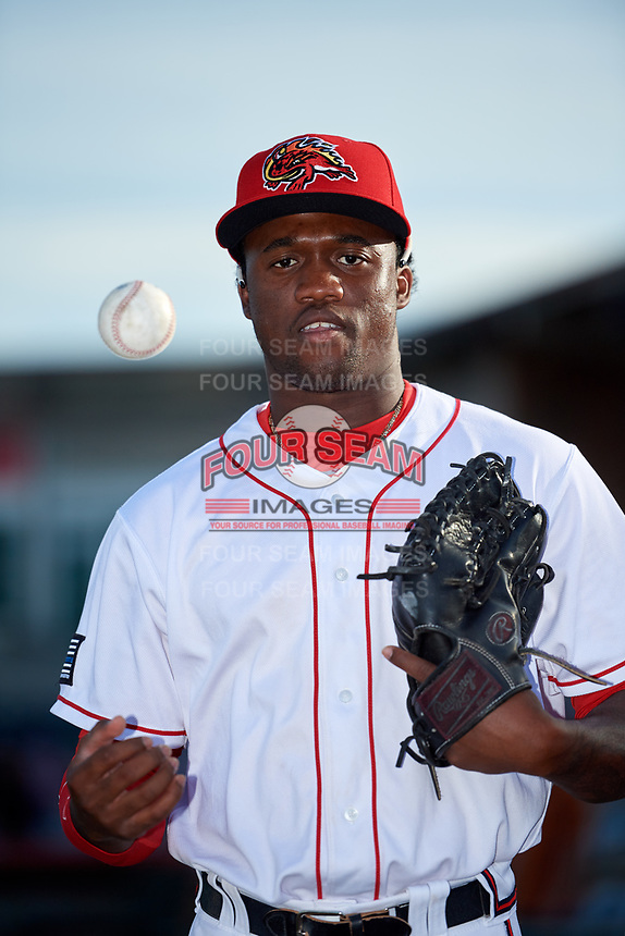 Florida Fire Frogs right fielder Anfernee Seymour (5) poses for a photo before a game against the Palm Beach Cardinals on May 1, 2018 at Osceola County Stadium in Kissimmee, Florida.  Florida defeated Palm Beach 3-2.  (Mike Janes/Four Seam Images)