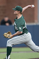 Michigan State Spartans pitcher Mike Mokma (20) delivers a pitch to the plate against the Michigan Wolverines during the NCAA baseball game on April 18, 2017 at Ray Fisher Stadium in Ann Arbor, Michigan. Michigan defeated Michigan State 12-4. (Andrew Woolley/Four Seam Images)