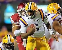 11/14/15<br /> Arkansas Democrat-Gazette/STEPHEN B. THORNTON<br /> Arkansas' Deatrich Wise Jr. sacks LSU's QB Brandon Harris on their first big drive in the second quarter during their game Saturday in Baton Rouge, La.