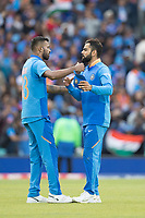 Virat Kolli (India) celebrates with Hardik Pandya (India) at the conclusion of the match during India vs Australia, ICC World Cup Cricket at The Oval on 9th June 2019