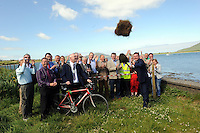 REPRO FREE: 20-6-2014: &euro;3.4m greenway for South Kerry.<br /> Junior Transport Minister Alan Kelly turns the first sod to launch for Phase 1 of the South Kerry Greenway project at Mannix Point, Cahersiveen, County Kerry on Friday. surrounded by members of Kerry County Council, ACARD and local politicians including, John Brassil, Chairman, Kerry County Council, John Flynn, Director of Services, Kerry County Council, Tom Sheehy, Services Engineer, Paul O'Connor, Project Engineer, Frank Curran, ACARD and Joe McCrohan, SKDP.<br /> The South Kerry Greenway will facilitate walkers and cyclists and stretch 26 kilometres from Glenbeigh to Caherciveen and Renard and will be routed along the old railway line. The route includes travelling through train tunnels, crossing over the magnificient Gleesk Viaduct all along the Wild Atlantic Way with the most spectacular scenery in Ireland overlooking Dingle Bay.<br /> Picture by Don MacMonagle<br /> <br /> FREE REPRO