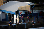 Supporters look on from the shed behind the goal during the first-half at Links Park. It was Edinburgh City's first Scottish League visit to Montrose since the club were promoted from the Lowland League the previous season. City won the match 1-0 to record their first league win of the season, captain Dougie Gair scoring the winner from the penalty spot in the 68th minute in a match watched by 388 spectators.