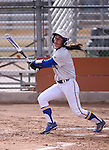 Western Nevada College Wildcats' Melanie Mecham hits against College of Southern Idaho at Edmonds Sports Complex, in Carson City, Nev., on Friday, Feb. 27, 2015. <br /> Photo by Cathleen Allison/Nevada Photo Source