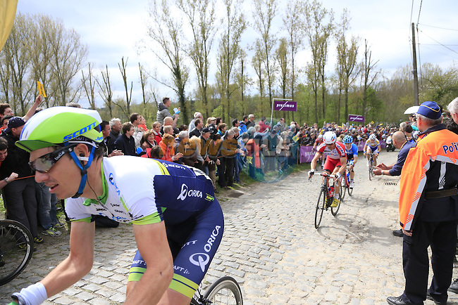 The breakaway group, including Daryl Impey (RSA) Orica GreenEdge, climb the Molenberg during the 2014 Tour of Flanders, Belgium.<br /> Picture: Eoin Clarke www.newsfile.ie