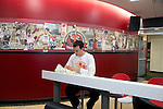 Wisconsin Badgers basketball player Dan Fahey sits down to eat lunch on move-in day at the LaBahn Arena Monday, October 1, 2012 in Madison, Wisc. (Photo by David Stluka)