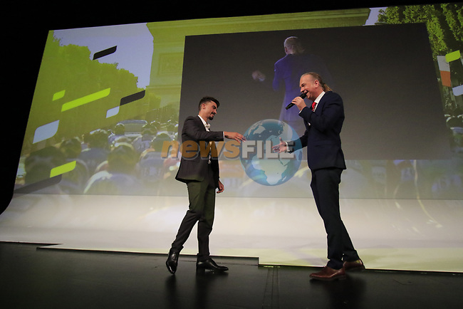 Julian Alaphilippe (FRA) introduced on stage at the Tour de France 2020 route presentation held in the Palais des Congrès de Paris (Porte Maillot), Paris, France. 15th October 2019.<br /> Picture: Eoin Clarke | Cyclefile<br /> <br /> All photos usage must carry mandatory copyright credit (© Cyclefile | Eoin Clarke)