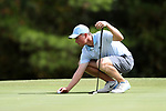 CHAPEL HILL, NC - OCTOBER 07: UNC's Ben Griffin lines up an eagle putt on the 3rd green. The second round of the Tar Heel Intercollegiate Men's Golf Tournament was held on October 7, 2017, at the UNC Finley Golf Course in Chapel Hill, NC.