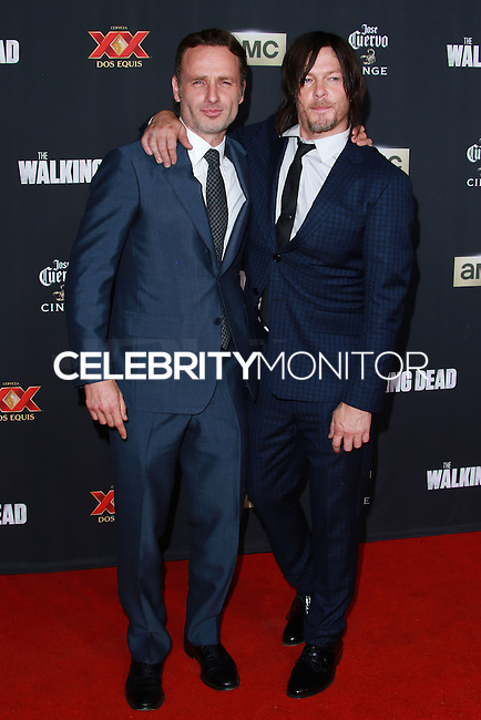 UNIVERSAL CITY, CA, USA - OCTOBER 02: Norman Reedus, Andrew Lincoln arrive at the Los Angeles Premiere Of AMC's 'The Walking Dead' Season 5 held at AMC Universal City Walk on October 2, 2014 in Universal City, California, United States. (Photo by David Acosta/Celebrity Monitor)