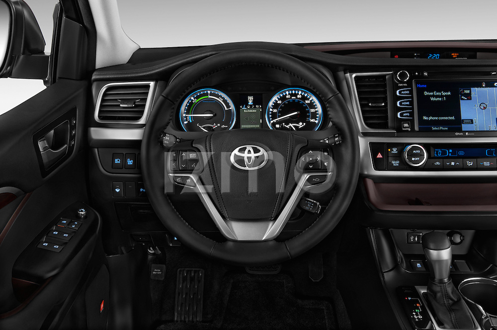 Car pictures of steering wheel view of a 2015 Toyota Highlander Limited Hybrid 4x4 5 Door SUV Steering Wheel