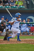 Aldrich De Jongh (5) of the Ogden Raptors at bat against the Grand Junction Rockies at Lindquist Field on August 28, 2019 in Ogden, Utah. The Rockies defeated the Raptors 8-5. (Stephen Smith/Four Seam Images)