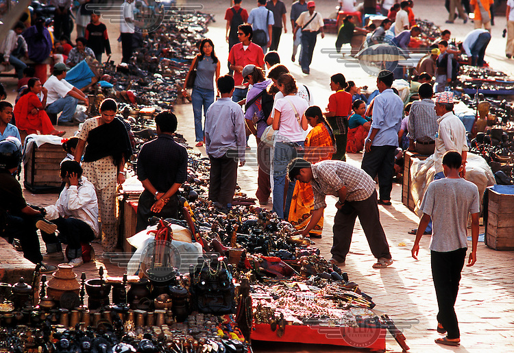 Bric-a-brac market in Durbar Square popular with tourists and locals.