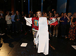 Katie Webber and cast during the Actors' Equity Gypsy Robe Ceremony honoring Katie Webber for  'Charlie and the Chocolate Factory' at the Lunt-Fontanne Theatre on April 23, 2017 in New York City.