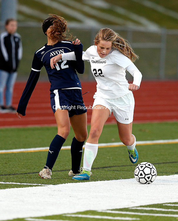 Southbury, CT- 11 November 2016-111116CM16- Pomperaug's Hannah Broderick right, battles for the ball against Avon's Krista Wise during their state tournament matchup on Friday.     Christopher Massa Republican-American