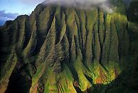Na Pali Coast aerial on spectacular north shore