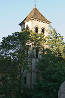 Bell tower of Saint Pierre de Montmartre, Paris, France.  Tower of a Roman church on top of the hill.