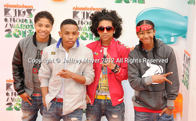 LOS ANGELES, CA - MARCH 31: Roc Royal, Prodigy, Princeton and Ray Ray of Mindless Behavior arrive at the 2012 Nickelodeon Kids' Choice Awards at Galen Center on March 31, 2012 in Los Angeles, California.